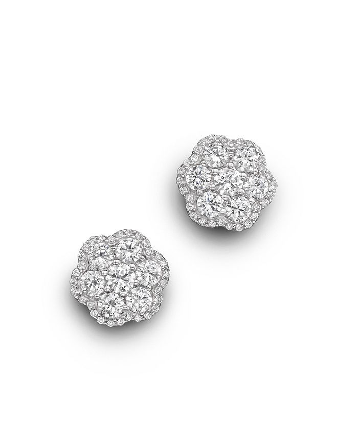 Bloomingdale's - Diamond Flower Cluster Stud Earrings in 14K White Gold, 2.25 ct. t.w. - 100% Exclusive