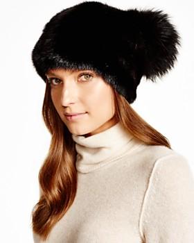 Maximilian Furs - Mink Hat with Fox Pom-Pom