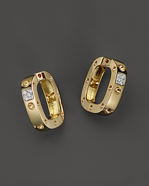 Roberto Coin 18K Yellow and White Gold Pois Moi Single Hoop Earrings with Diamonds