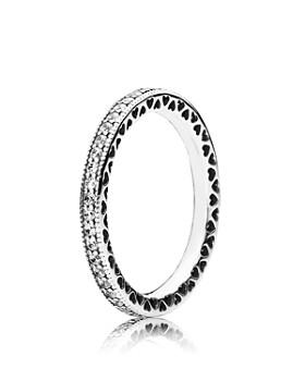 Pandora - Sterling Silver & Cubic Zirconia Hearts of PANDORA Ring
