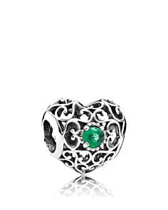 PANDORA -  Sterling Silver & Crystal May Signature Heart Charm
