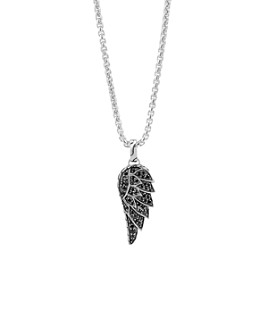 JOHN HARDY - John Hardy Classic Chain Silver Lava Eagle Wing Pendant Necklace with Black Sapphire, 26""