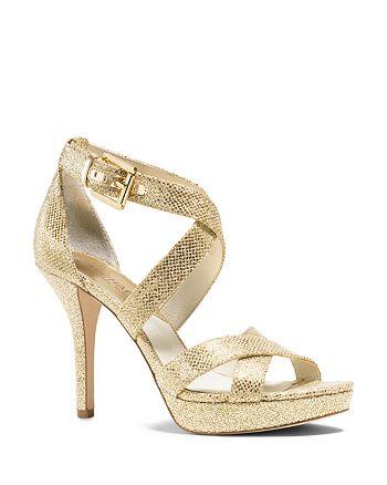 056c6f8c03eb MICHAEL Michael Kors - Evie Glitter Platform Sandals