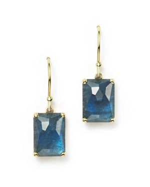 Ippolita 18K Gold Rock Candy Rectangle Drop Earrings in London Blue Topaz and Labradorite Doublet