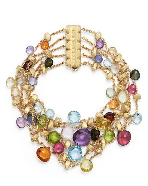 Marco Bicego - 18K Yellow Gold Paradise Five Strand Mixed Stone Bracelet