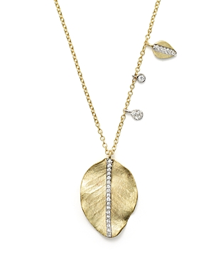 Meira T 14K Yellow Gold Leaf Charm Necklace, 16