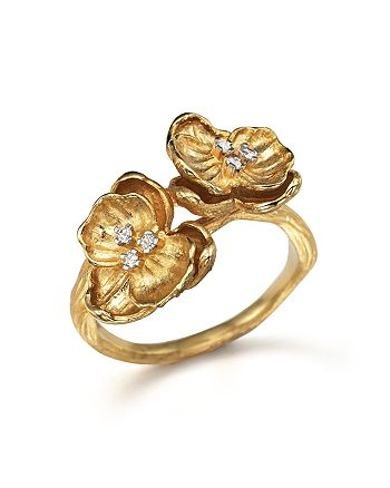 Michael Aram - 18K Yellow Gold Small Double Orchid Ring with Diamonds