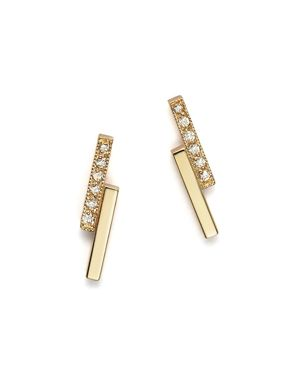 Zoe Chicco 14K Small Staggered Bar Stud Earrings with Diamonds