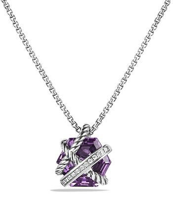 David Yurman - Petite Cable Wrap Necklace with Amethyst and Diamonds