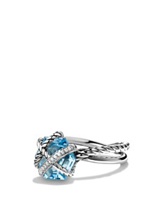 David Yurman - Petite Cable Wrap Ring with Blue Topaz and Diamonds