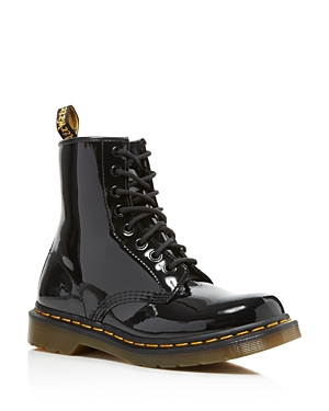 It\\\'s official: grunge is back in a big way. Revisit a \\\'90s favorite with Dr. Martens\\\' iconic lace up leather boots, rendered in glossy patent leather.