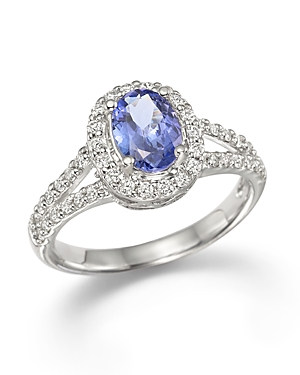 Tanzanite and Diamond Ring in 14K White Gold - 100% Exclusive