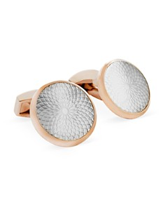 Tateossian - Rose Gold Mother of Pearl Etched Circle Cufflinks