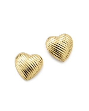 14K Yellow Gold Medium Heart Stud Earrings - 100% Exclusive