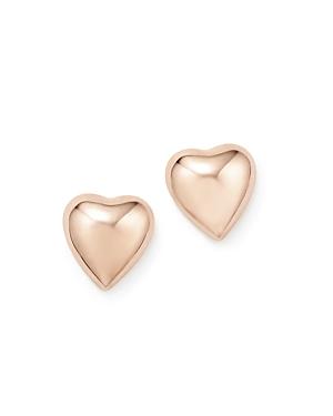 14K Rose Gold Puffed Heart Stud Earrings - 100% Exclusive