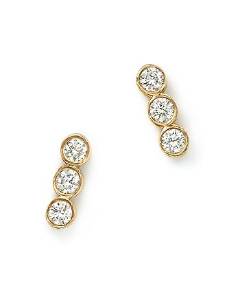 Zoë Chicco - 14K Yellow Gold and Diamond Bezel-Set Trio Earrings