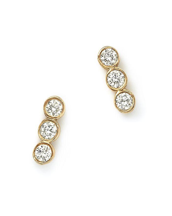 Zoë Chicco - 14K Yellow Gold and Diamond Bezel-Set Trio Earrings