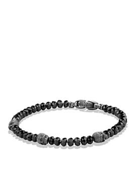 David Yurman - David Yurman Spiritual Beads Skull Station Bracelet in Black Spinel