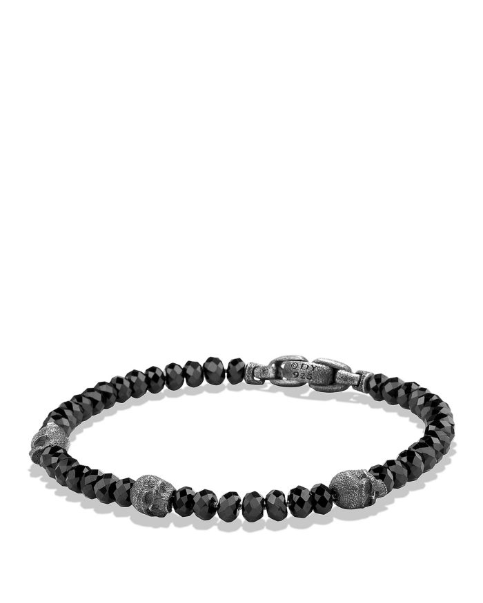 David Yurman Spiritual Beads Skull Station Bracelet in Black Spinel    Bloomingdale's