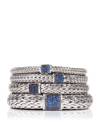 Classic Chain Sterling Silver Lava Medium Bracelet with Blue Sapphires