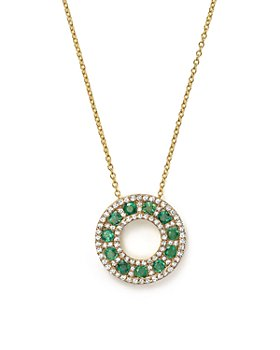 "Bloomingdale's - Emerald and Diamond Circle Pendant Necklace in 14K Yellow Gold, 17"" - 100% Exclusive"