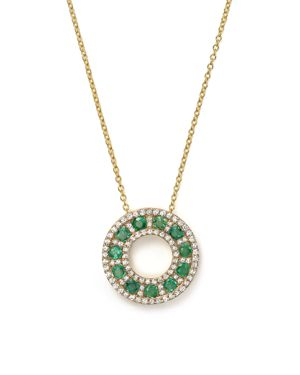 Emerald and Diamond Circle Pendant Necklace in 14K Yellow Gold, 17 - 100% Exclusive