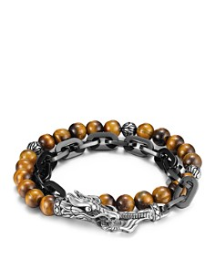 JOHN HARDY -  Men's Naga Double Wrap Link Bracelet With Tiger's Eye