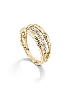 John Hardy Bamboo 18K Yellow Gold Diamond Pave Ring