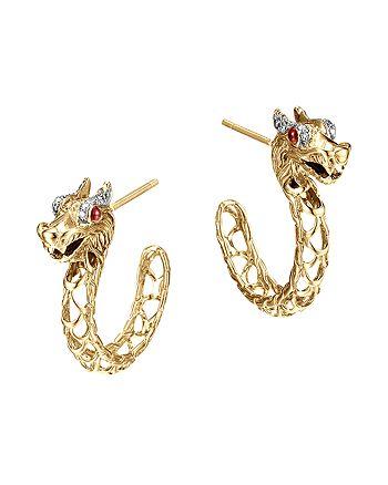 1141acd61 JOHN HARDY - John Hardy 18K Gold Naga Diamond Pavé Medium Dragon  Hoop Earrings with