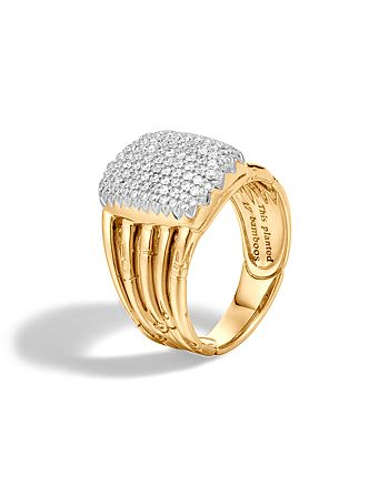 JOHN HARDY - John Hardy Bamboo 18K Yellow Gold Diamond Pavé Five Row Ring