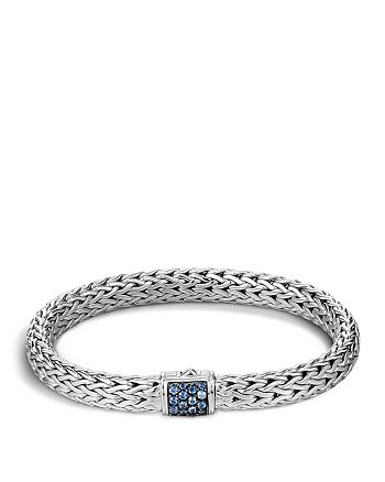 JOHN HARDY - Classic Chain Sterling Silver Lava Medium Bracelet with Blue Sapphires