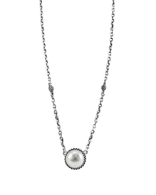 """LAGOS - Luna Sterling Silver & Cultured Freshwater Pearl Pendant Necklace, 16"""""""