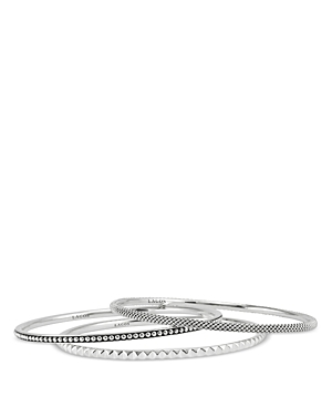 Lagos Sterling Silver Caviar and Sugarloaf 3 Bangle Set-Jewelry & Accessories