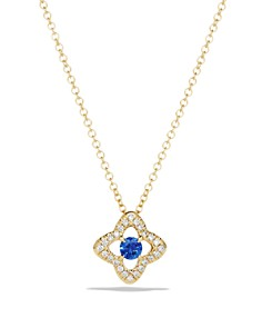 David Yurman - Venetian Quatrefoil Necklace with Blue Sapphire and Diamonds in 18K Gold