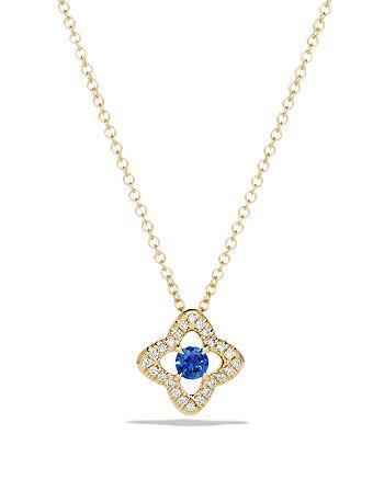 David Yurman - Venetian Quatrefoil Necklace with Blue Sapphire and Diamonds in 18K Gold