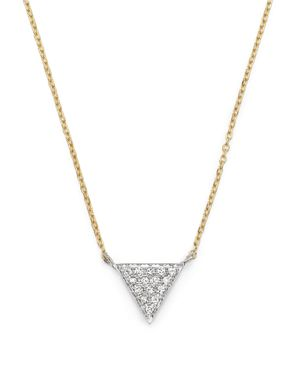 Dana Rebecca Designs 14K Yellow Gold Triangle Pave Diamond Necklace, 16
