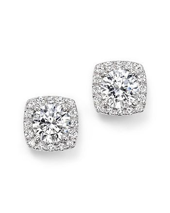 Bloomingdale's - Certified Diamond Halo Stud Earrings in 14K White Gold, 2.30 ct. t.w. - 100% Exclusive
