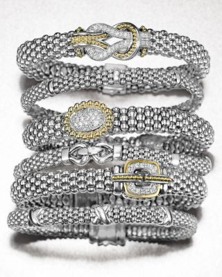 Enso Sterling Silver Caviar Bracelet with Diamonds