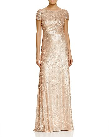 Adrianna Papell - Short Sleeve Sequin Gown