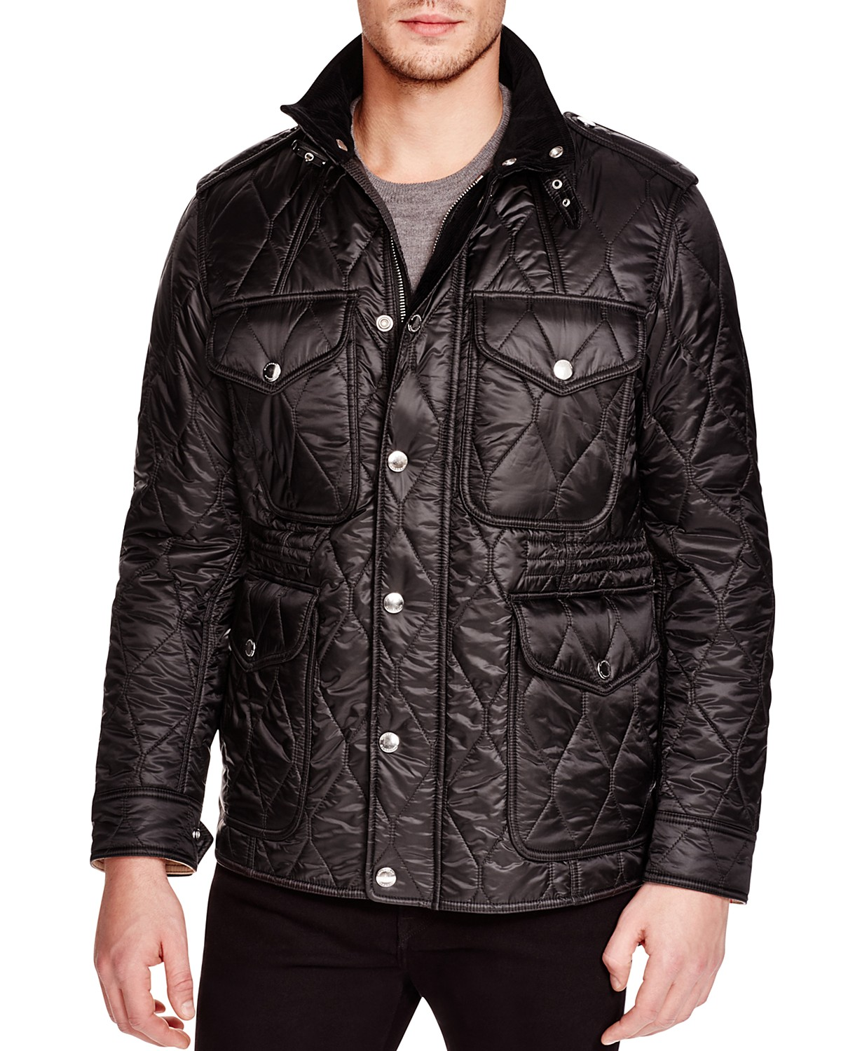 marcus quilted black jacket diamond p russell field burberry prod neiman brit mens quilt bz