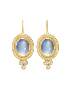 Temple St. Clair - Temple St. Clair 18K Yellow Gold Classic Oval Earrings with Cabochon Royal Blue Moonstone and Diamond Granulation