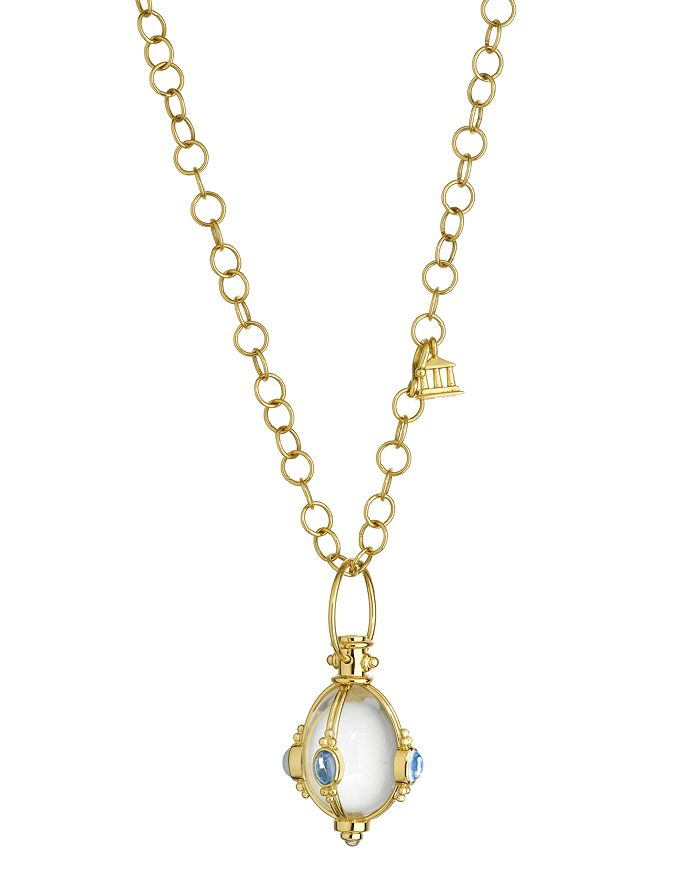 Temple St. Clair - 18K Yellow Gold Classic Cabochon Amulet with Oval Rock Crystal, Royal Blue Moonstone and Tanzanite