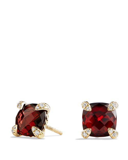David Yurman - Châtelaine Earrings with Garnet in 18K Gold