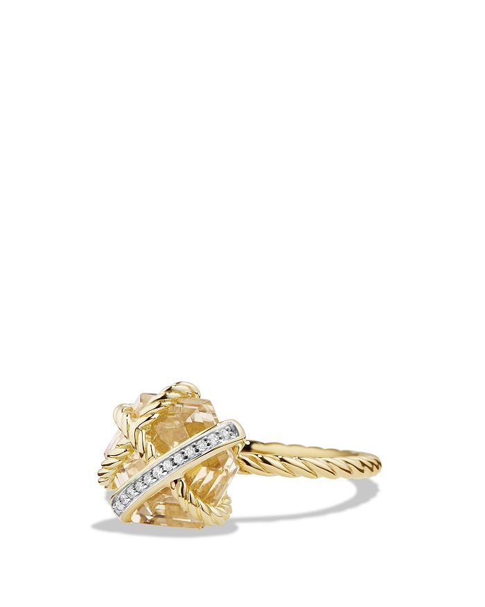 David Yurman - Cable Wrap Ring with Champagne Citrine & Diamonds in 18K Gold