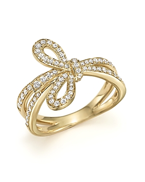 Diamond Bow Ring in 14K Yellow Gold, .45 ct. t.w. - 100% Exclusive