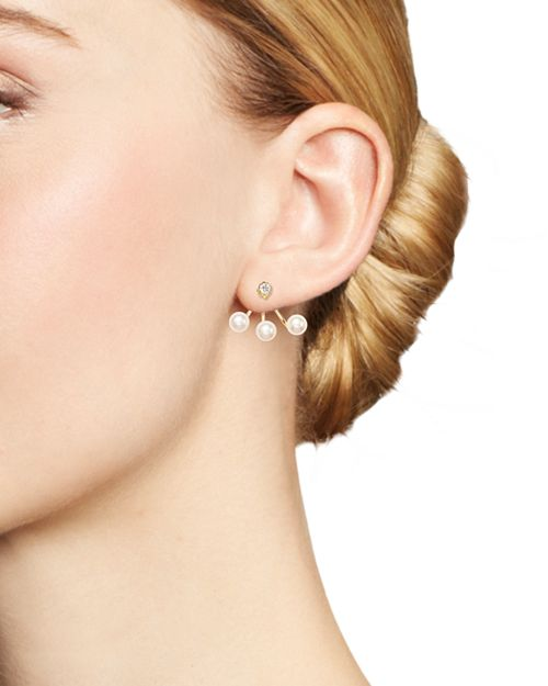 Zo Euml Chicco 14k Yellow Gold And Diamond Stud Earring With Cultured Freshwater Pearl Ear