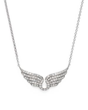 Diamond Wing Necklace in 14K White Gold, .30 ct. t.w.