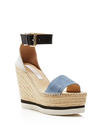 4448437d70f See by Chloé Glyn Denim Espadrille Wedge Ankle Strap Sandals ...