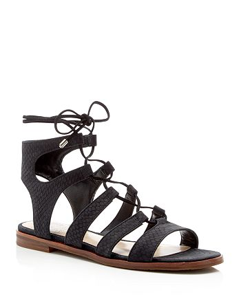 VINCE CAMUTO - Tany Snake-Embossed Gladiator Lace Up Flat Sandals