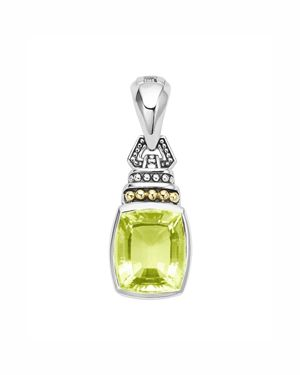 Lagos 18K Gold and Sterling Silver Caviar Color Pendant with Green Quartz